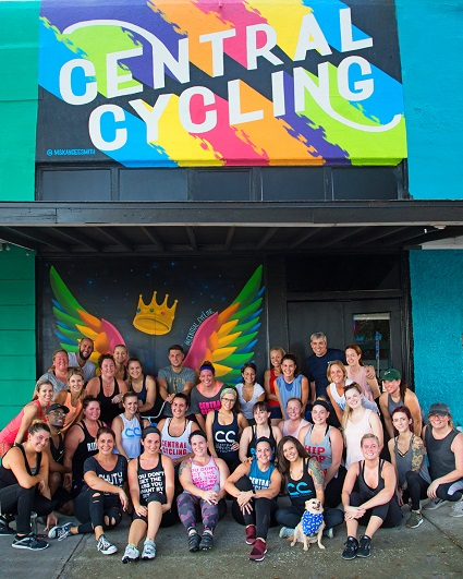 spin studio athletes standing in front of Central Cycling downtown St Pete location